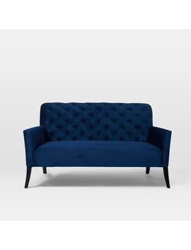 Elton Settee, Performance Velvet, Ink Blue by West Elm