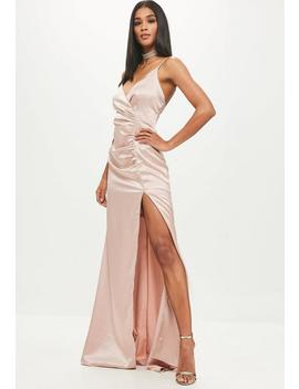 Gold Satin Ruched Split Maxi Dress by Missguided