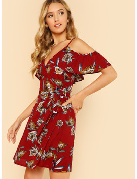 Floral Ruffle Cold Shoulder Wrap Dress Red by Sheinside
