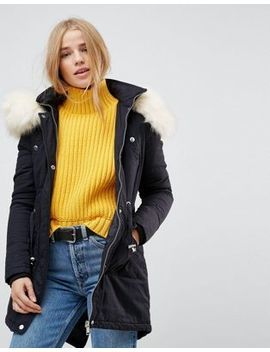 Brave Soul Coaster Parka Coat With Contrast Pu Trims by Coat