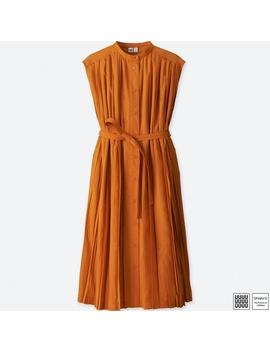 Women Uniqlo U Pleated Sleeveless Shirt Dress by Uniqlo