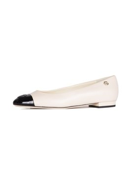 Black Lambskin Cap Toe Ballerina Flats   Beige / Black by Chanel