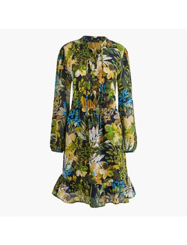 Silk Ruffle Dress In Watercolor Floral by J.Crew
