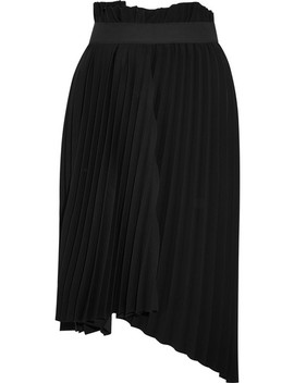 Fancy Intarsia Asymmetric Pleated Crepe Skirt by Balenciaga