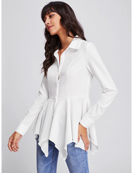 Princess Seam Detail Handkerchief Blouse by Shein