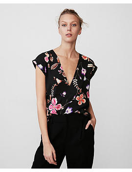 Roll Sleeve Deep V Neck Floral Blouse by Express