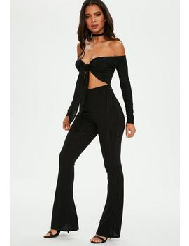 Black Tie Front Flare Leg Jumpsuit by Missguided