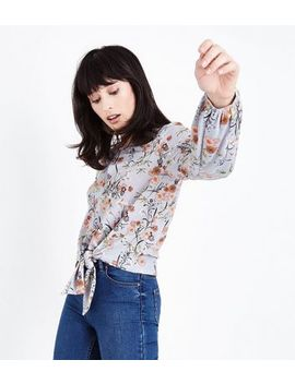 Blue Floral Cross Hatch Tie Front Top by New Look