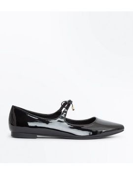 Black Patent Bow Strap Pointed Pumps by New Look