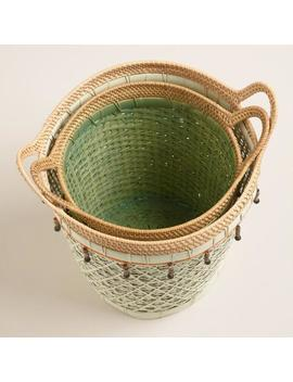 Woven Rattan Basket With Beads by World Market