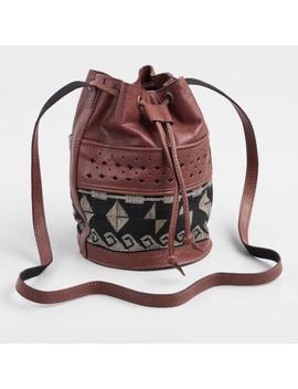 Brown Leather Jacquard Crossbody Bucket Bag by World Market