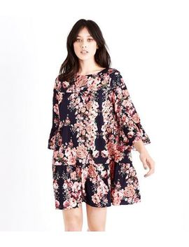 Blue Floral Print Bell Sleeve Smock Dress by New Look