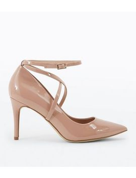 Nude Patent Strappy Pointed Courts by New Look