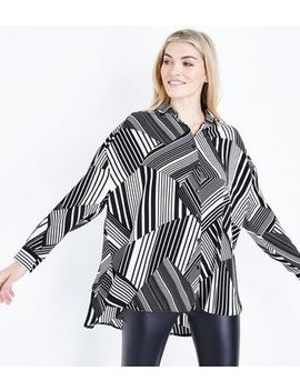 Black Patchwork Stripe Oversized Shirt by New Look