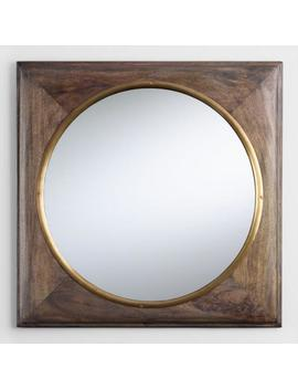 Brass And Wood Inset Wall Mirror by World Market