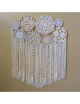 Wedding Backdrop, Large Crochet Dream Catcher Wall Hanging, Wedding Decorations, Boho Wedding Decor, Bohemian Wedding, Bridal Shower by Etsy