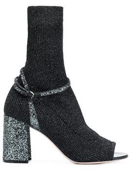 Sock Fusion Sandal Booties by Miu Miu