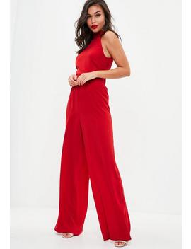 Red High Neck Wide Leg Jumpsuit by Missguided