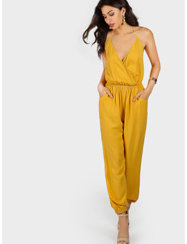 Self Tie Halter Surplice Slanted Pocket Front Tapered Jumpsuit by Shein
