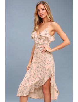 Le Quartier Blush Floral Print Ruffled Midi Dress by Lulus