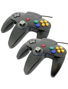 2 X Tekdeals Replacement Nintendo 64 Classic Controller Wired Long Handle Joystick Gamepad For N64 Game Consoles (Black) by Tek Deals