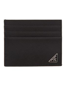 Black Saffiano Logo Card Holder by Prada