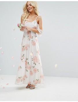 John Zack Petite Allover Rose Floral Cold Shoulder Maxi Dress by John Zack Petite
