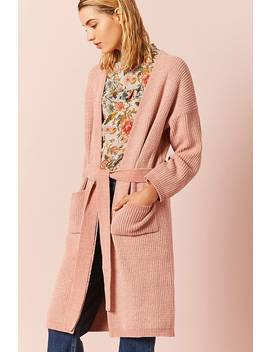 Chenille Belted Longline Cardigan by F21 Contemporary