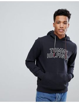 Tommy Hilfiger Tommy Chest Logo Hoodie Icon Stripe Detail In Black by Tommy Hilfiger