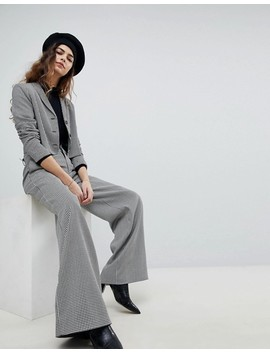 Unique 21 Cropped Blazer In Dogtooth Co Ord by Unique 21