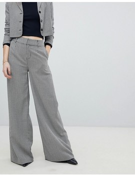 Unique 21 Wide Leg Pant In Dogtooth Co Ord by Unique 21