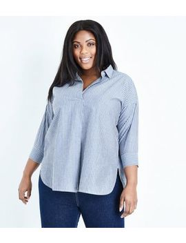 Curves Blue Stripe Overhead Shirt by New Look