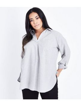 curves-grey-woven-overhead-shirt by new-look