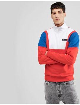 Ellesse Colour Block 1/2 Zip Sweatshirt In Red by Ellesse