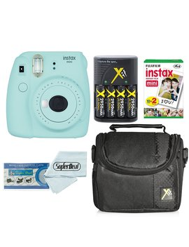 Fujifilm Instax Mini 9 Instant Film Camera With Fujifilm Instax Mini Instant Film Twin Pack (20 Sheets), Compact Bag Case, Batteries And Battery Charger (Ice Blue) by Clear Max