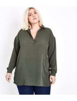 Curves Khaki Overhead Shirt by New Look