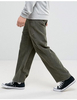 Asos Oversized Relaxed Trousers In Khaki Cord by Asos