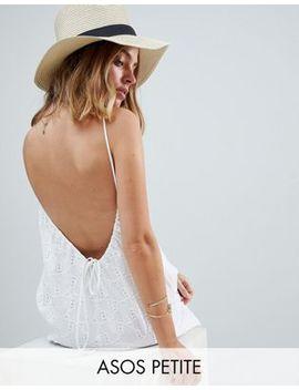 Asos Petite Low Back Mini Sundress In Heart Broderie by Asos Petite