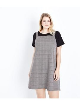Curves Brown Check Pinafore Dress by New Look
