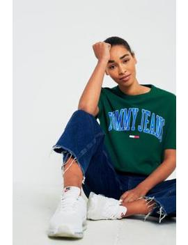 Tommy Jeans Collegiate Green Logo T Shirt by Urban Outfitters