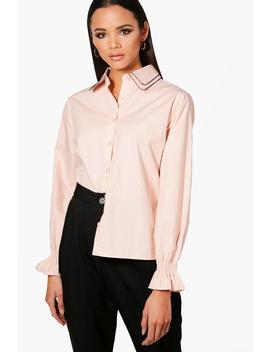 Ivy Embriodered Collar Detail Shirt by Boohoo