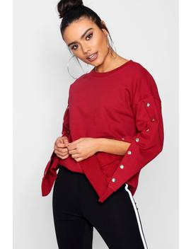 Meg Athleisure Popper Sleeve Sweat Top by Boohoo