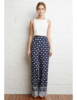 Elephant Print Wide Leg Pants by Forever 21