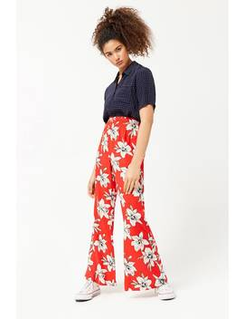 Floral High Rise Flare Pants by Forever 21