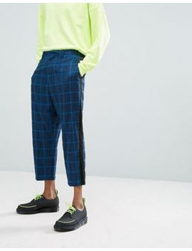 Asos Drop Crotch Tapered Suit Pants In Blue Oversized Check With Side Stripe by Asos