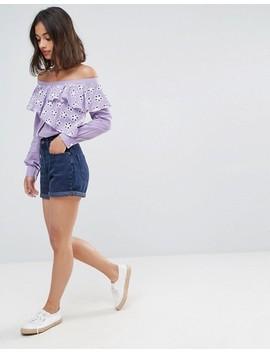 Asos Petite Cotton Broderie Off Shoulder Shirt by Asos Petite