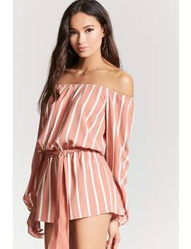 Striped Off The Shoulder Romper by F21 Contemporary