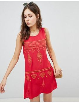 Glamorous Sleeveless Mini Shift Dress With Contrast Embroidery by Glamorous
