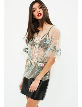 Nude Sheer Embroidered Top by Missguided