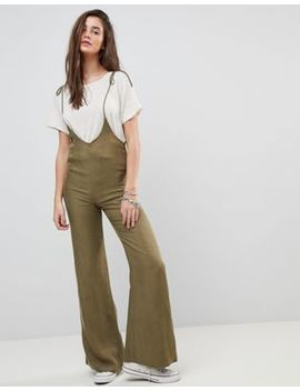 Honey Punch Pinnafore Jumpsuit With Wide Leg by Honey Punch